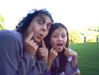 Jasper and his daughter pulling silly faces
