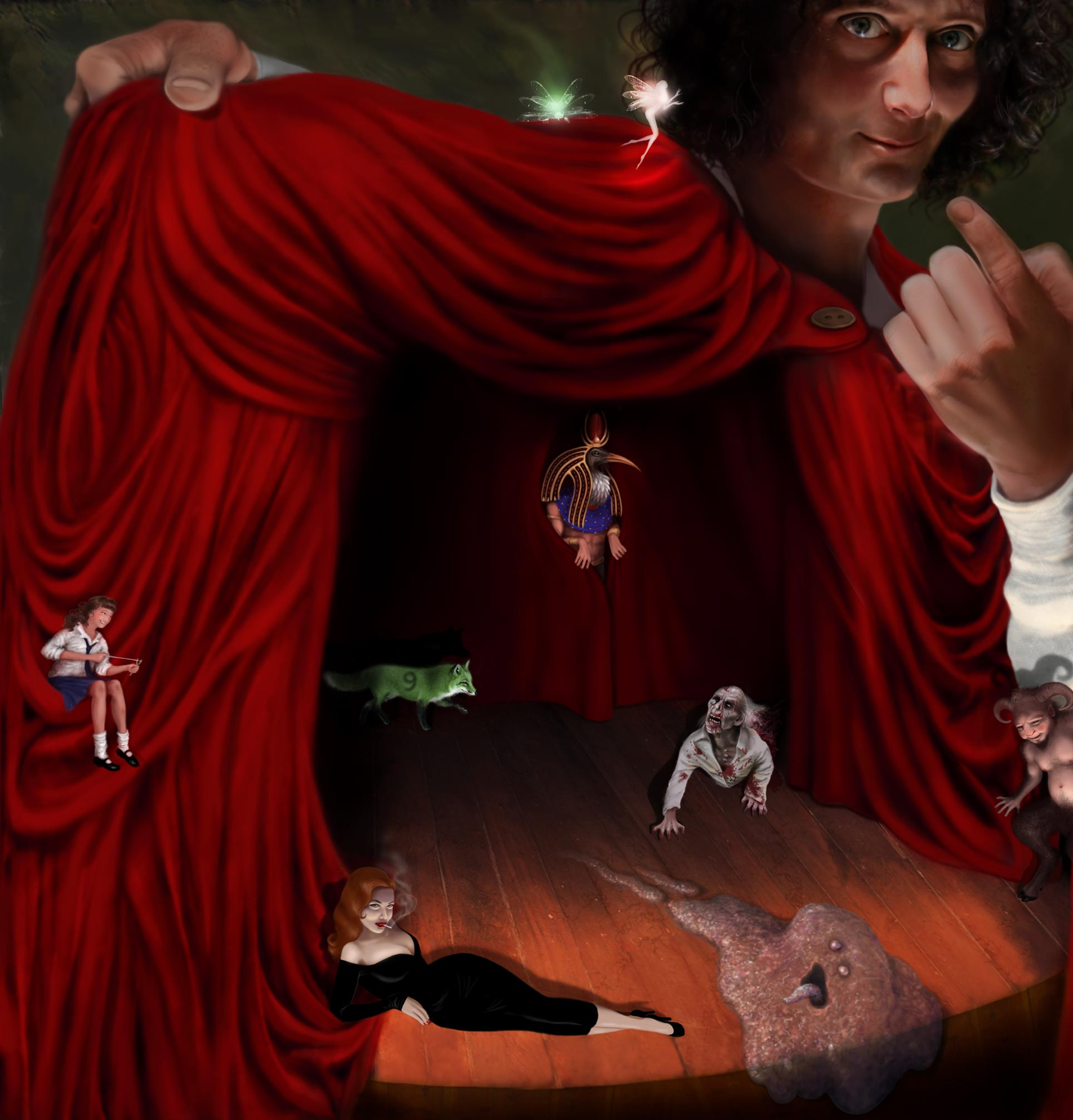 Illustration of Jasper pulling back curtain on a stage of horrors and curiousities